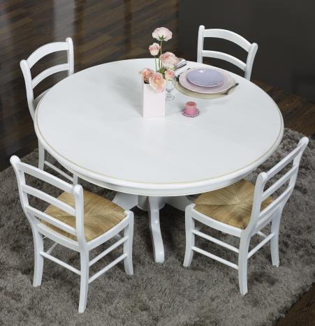 Mesa de comedor redonda Maude con pata central fabricada en madera de roble macizo estilo Louis Philipe Diam. 140