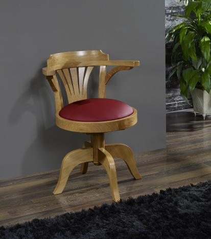 Sillón de escritorio giratorio Marco fabricado en madera de roble macizo Asiento en piel Bordeos