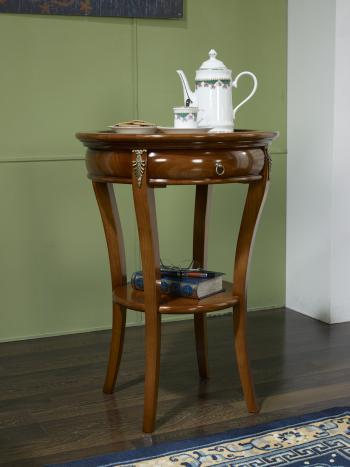 Pedestal redonda Syriel hecha de cerezo macizo estilo Directorio