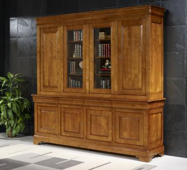 Biblioteca Anna de 2 cuerpos y 4 puertas fabricada en madera de  cerezo macizo al estilo Louis Philippe