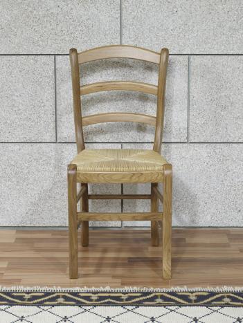 Silla Ana fabricada en madera maciza de roble estilo Louis Philippe asiento paja Centeno