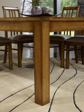 Mesa de comedor cuadrada fabricada en madera de roble macizo 140x140 estilo contemporáneo acabado Roble dorado