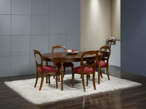 Mesa de comedor Nicolás ovalada fabricada en madera de cerezo macizo al estilo Louis Philippe 170*110