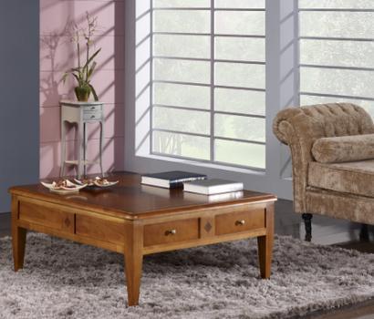 Mesa de centro Amandine fabricada en madera de cerezo macizo de estilo Directoire