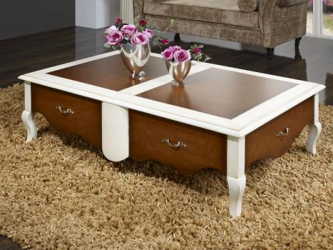 Mesa de centro rectangular fabricada en madera de cerezo macizo estilo Louis XV