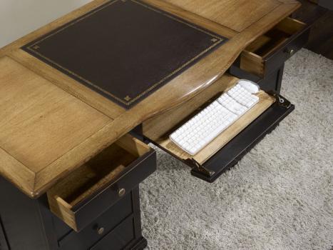 Escritorio Dimitri fabricada en madera de roble macizo al estilo Louis Philippe especial pátina envejecida Moka