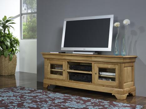 Mueble TV 16/9 Ingrid fabricado en madera de Roble macizo al estilo Louis Philippe