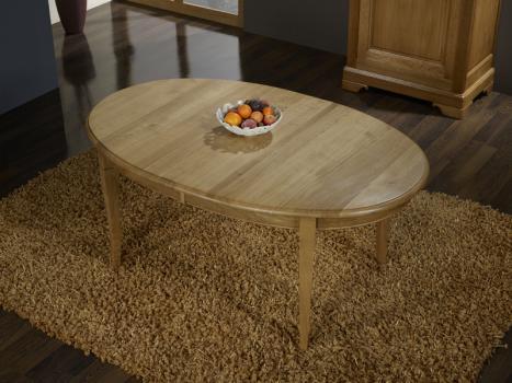 Mesa de comedor ovalada Gloria fabricada en madera de Roble Macizo al estilo Louis Philippe 170x110 + 2 extensiones de 40 cm