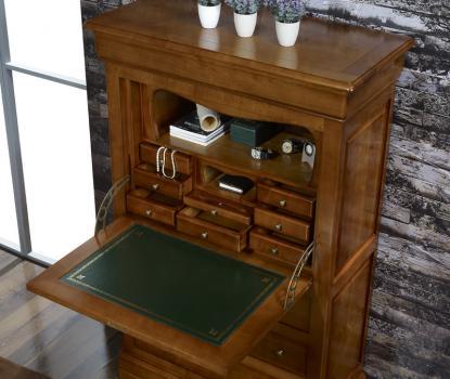Secretaria estilo francés Lea fabricada en madera de cerezo macizo estilo Louis Philippe