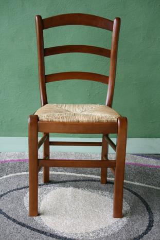 SILLA Silla fabricada en madera maciza de Haya de estilo Luis Philippe con asiento en paja de centeno