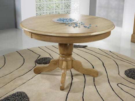 Mesa de comedor redonda con pata central,fabricada en madera de roble macizo al estilo de Louis Philippe DIAMETRO 120cm - 2 extensiones de 40 cm