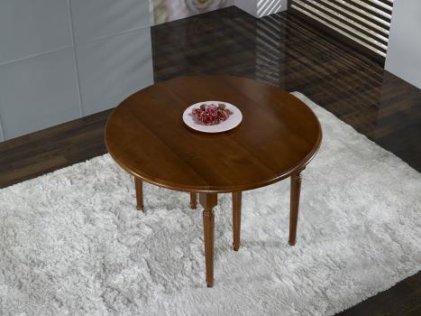 Mesa de comedor redonda JUSTINE con alas abatibles, fabricada en madera de cerezo macizo al estilo Luis XVI -3 extensiones DIAMETRO 120