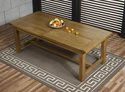 Mesa de comedor rectangular Lucas fabricada en madera maciza de roble 180x100 + 2 extensiones de 45cm estilo rústico