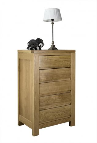 Cómoda de 5 cajones Colección Nature fabricada en madera de Roble macizo de estilo contemporáneo