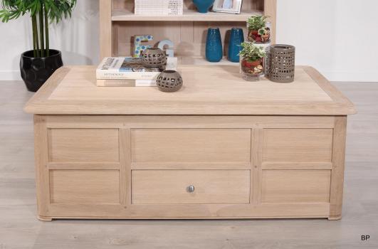 Mesa de Centro con Bar Paulino fabricada en madera de Roble macizo al estilo Louis Philippe