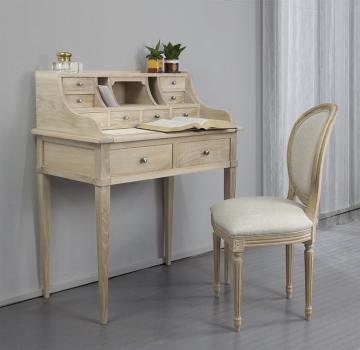 Secretaria estilo francés Luisa fabricada en madera de roble macizo estilo Directoire acabado cepillado blanqueado