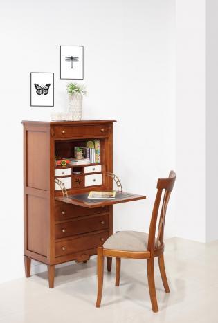 Secretaria estilo francés Salomé de 4 cajones fabricada en madera de cerezo estilo Directoire