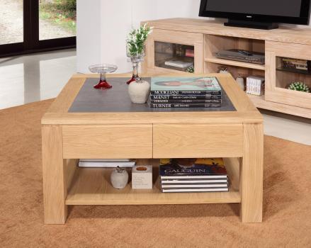 Mesa de centro Jean-Gabriel fabricada en madera de roble macizo de estilo contemporáneo