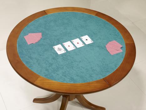 Mesa de juego de media luna fabricada en cerezo macizo en estilo Louis Philippe