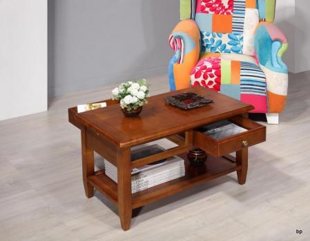 Mesa de centro Sandra fabricada en madera de cerezo en estilo rústico