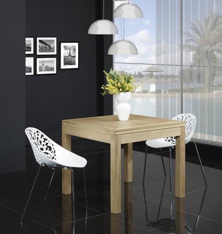 Mesa de comedor cuadrada  90x90 fabricada en madera  de Roble macizo estilo contemporáneo, abierta 180x90