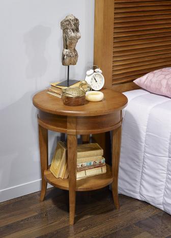 Mesa de noche Luis estilo Diretoire fabricada en madera maciza de roble