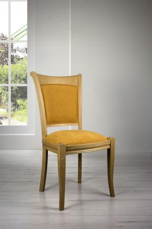 Silla Benjamin fabricada en madera de Roble macizo estilo Louis Philippe tejido mostaza