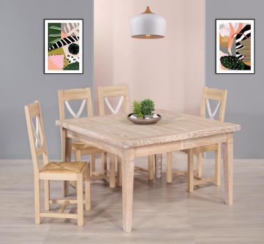 Mesa cuadrada fabricada en madera de roble macizo con 2 extensiones de 40 cm