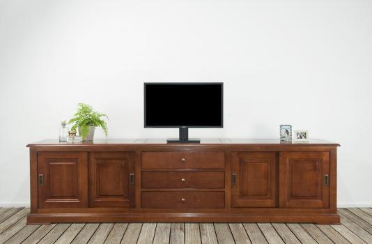 Mueble TV Beatriz fabricado en madera de Cerezo macizo al estilo Louis Philippe con 4 puertas y 3 cajones