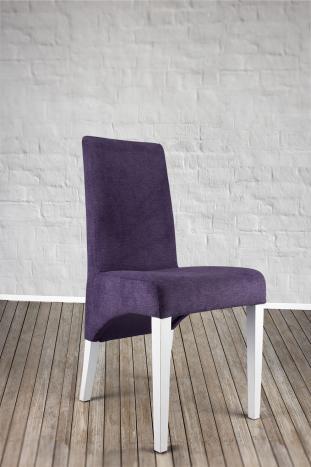 Silla Lucas en madera maciza de haya asiento tapizado y la espalda de color púrpura