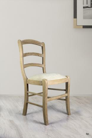 Silla fabricada en madera de Roble macizo estilo Louis Philippe acabado cepillado blanqueado