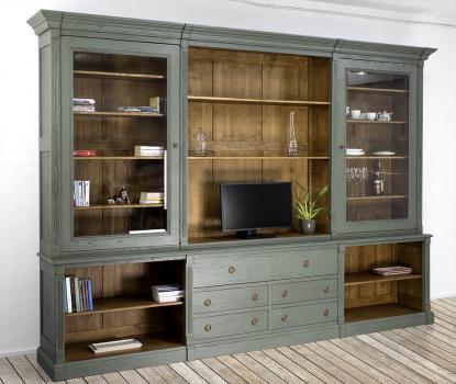 Biblioteca Sylvain de 2 cuerpos fabricada en madera de roble macizo en estilo Directoire Acabado Verde Rodal