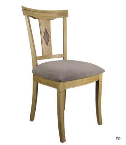 Silla Arthur fabricada en madera de  Roble macizo estilo Louis Philippe Asiento tela aldecco