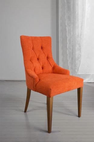 Silla de comedor acolchada con 4 patas de Cerezo macizo tela naranja