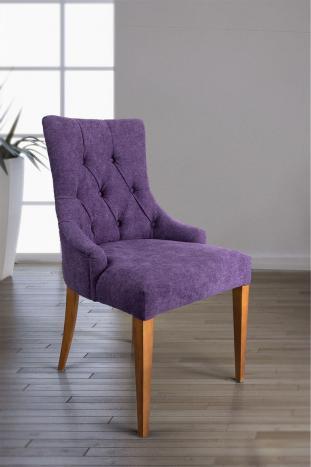 Silla de comedor acolchada con 4 patas de Cerezo macizo tela púrpura