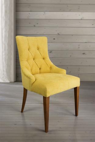 Silla de comedor acolchada con 4 patas de Cerezo macizo tela amarillo
