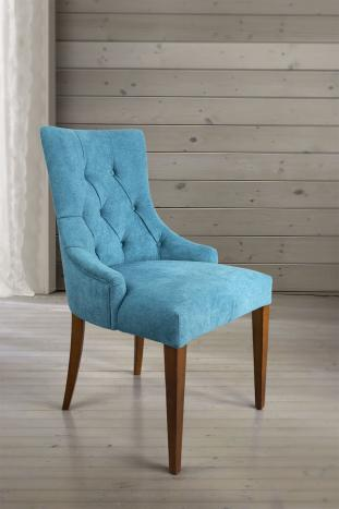 Silla de comedor acolchada fabricada en madera de Cerezo macizo tela azul
