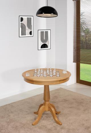 Mesa de juegos redonda fabricada en madera de roble macizo en estilo Louis Philippe