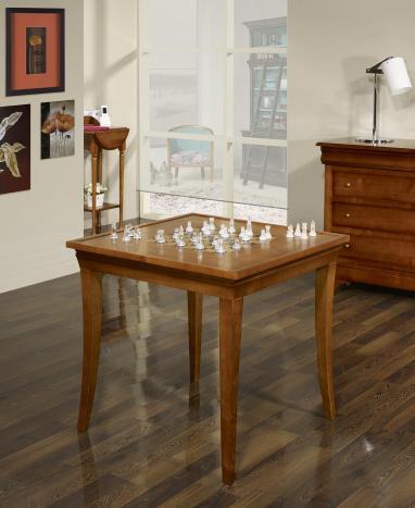 Mesa de juego cuadrada 77x77cm  fabricada en madera de cerezo macizo en estilo Louis Philippe