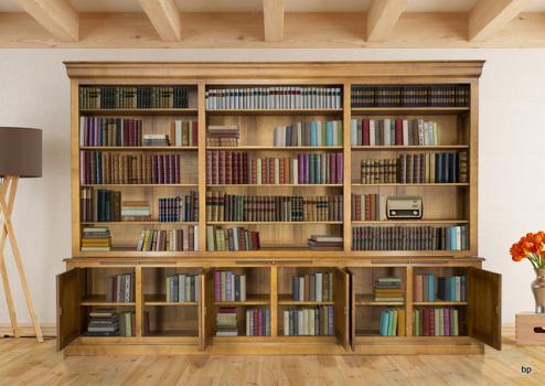 Biblioteca 2 cuerpos Adelina fabricada en madera de cerezo macizo estilo Louis Philippe ancho de 350cm
