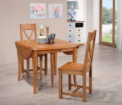Mesa de comedor ovalada Marta, extensible y con alas abatibles fabricada en madera de cerezo macizo al estilo Louis Philippe