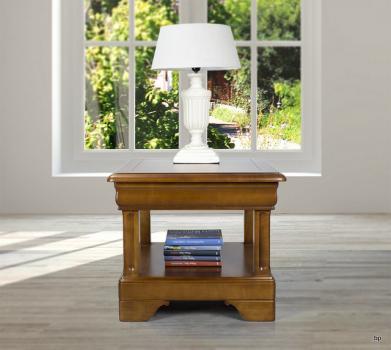 Mesa de centro Leila fabricada en madera de cerezo macizo al estilo Louis Philippe con 1 cajón