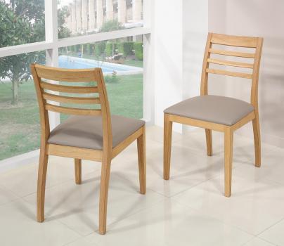 Silla Florian fabricada en madera de roble macizo línea contemporánea asiento en piel