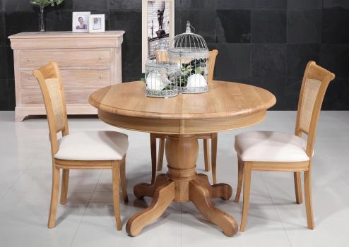 Mesa de comedor redonda Iker con pata central fabricada en madera de Roble macizo al estilo Louis Philippe diametro 105 cm
