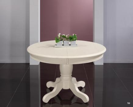 Mesa de comedor redonda con pata central fabricada en madera de roble macizo estilo Rústico diámetro 120cm + 2 extensiones de 40cm