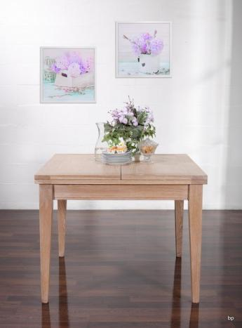 Mesa de comedor cuadrada 100x100 fabricada en madera de Roble macizo estilo contemporáneo, abierta 200x100
