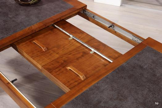 Mesa de comedor rectangular Aurore con bandeja de cerámica fabricada en madera  de cerezo macizo estilo contemporáneo ancho de 160cm