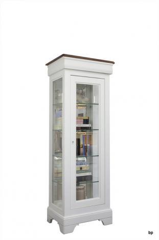 Armario vitrina de 1 puerta y 1 cajón fabricado en madera de Cerezo macizo al estilo Louis Philippe