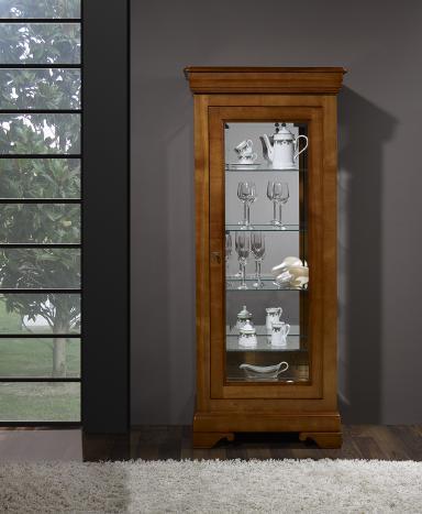 Armario Vitrina de 1 puerta y 1 cajón fabricado en madera de Cerezo macizo en estilo Louis Philippe