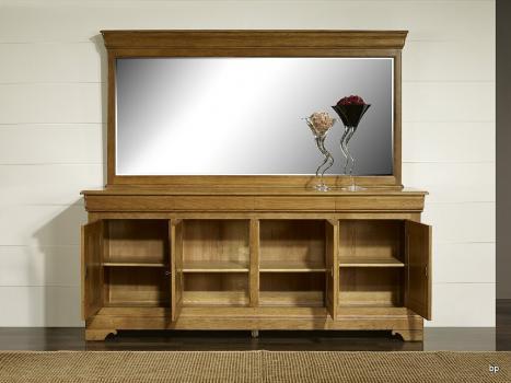 Espejo de cristal biselado 115x225 fabricado en madera de  Roble macizo estilo Louis Philippe
